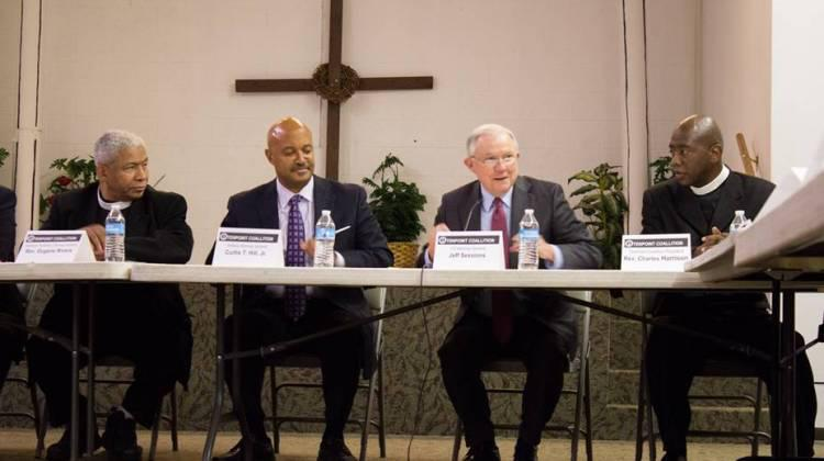 From left to right: Rev. Eugene Rivers, Indiana Attorney General Curtis Hill, U.S. Attorney General Jeff Sessions, Rev. Charles Harrison