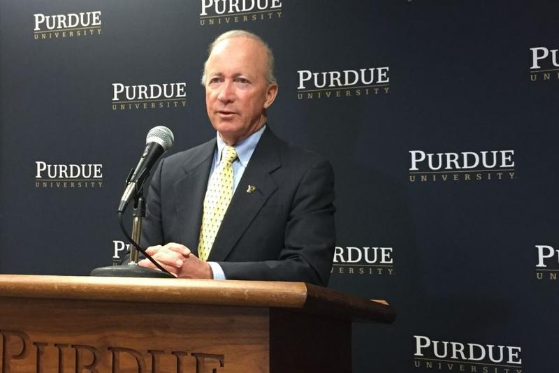 Purdue President Mitch Daniels discussed the new Boiler Affordability Grant at a press conference in Indianapolis on Tuesday. Nov. 21, 2017. (Photo credit: Eric Weddle/WFYI News)