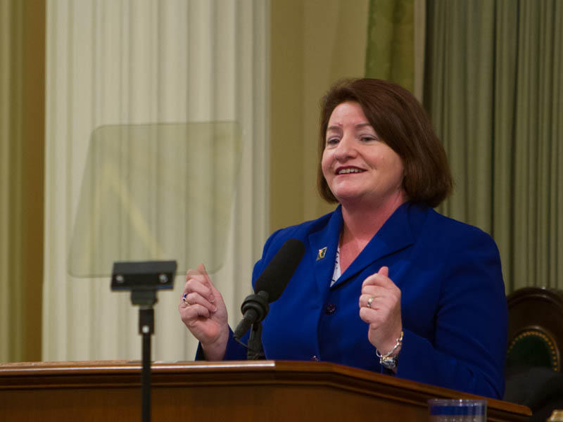 Toni Atkins is sworn in as California Assembly Speaker May 12, 2014.