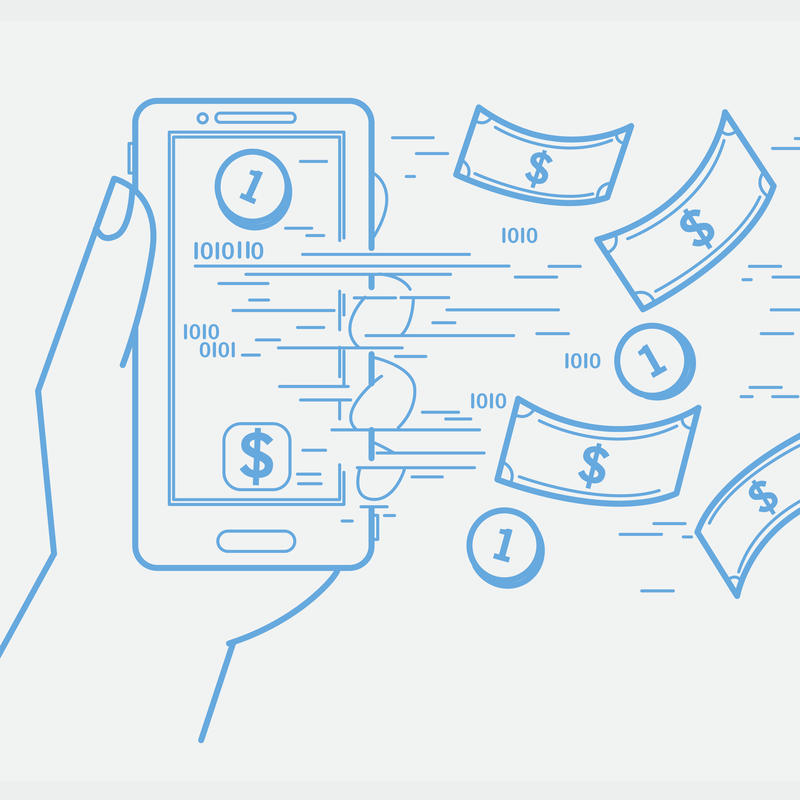 Online banking, sending and receiving money with a smartphone