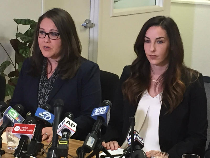 Pamela Lopez and Jessica Yas Barker at a press conference in Sacramento where they accused Asm. Matt Dababneh of sexual harassment.
