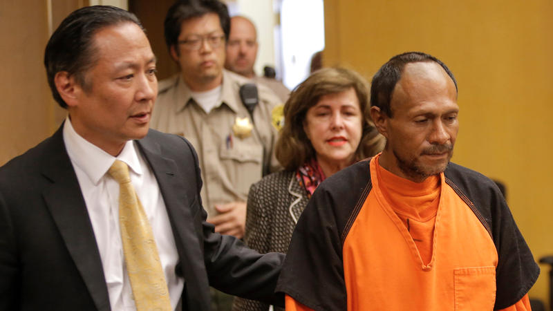 <p>San Francisco Public Defender Jeff Adachi (L) leads Jose Ines Garcia Zarate into the Hall of Justice for his arraignment in San Francisco, July 7, 2015.</p>