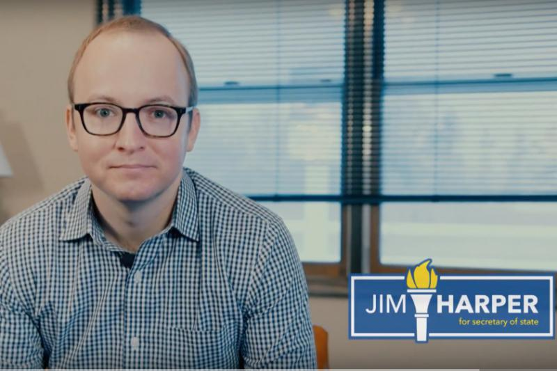 Democrat Jim Harper announces his candidacy for Secretary of State in a video. (Photo courtesy of Jim Harper)