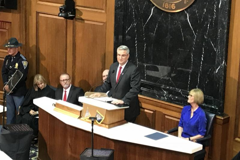 Gov. Eric Holcomb (R-Ind.) delivers the 2018 State of the State address from the Indiana House Chamber. (Brandon Smith/IPB News)
