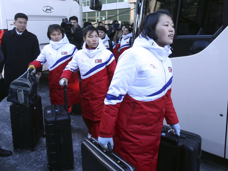 North Korean female hockey players arrive at the Inter-Korean Transit Office in Paju, South Korea, on Thursday.