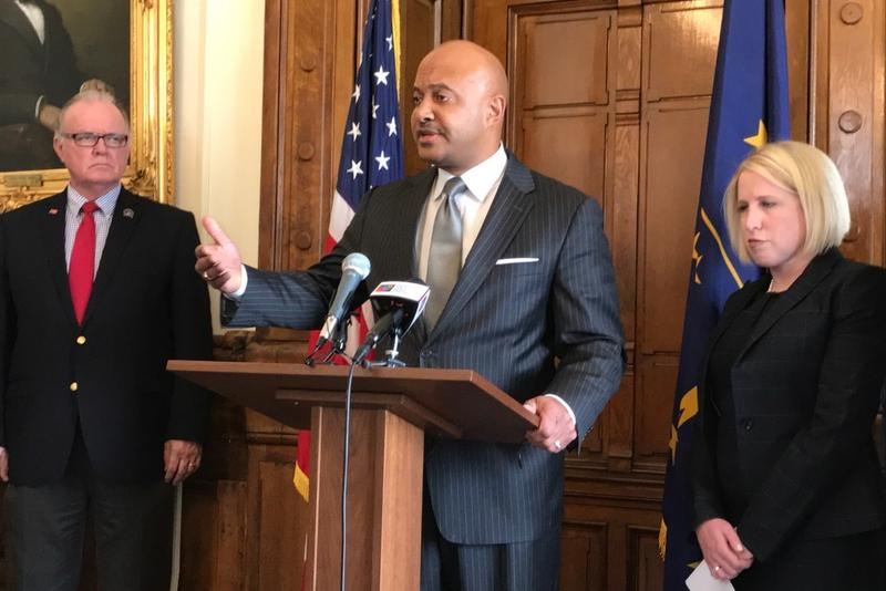 Indiana Attorney General Curtis Hill speaks at a May 2017 press conference. (FILE PHOTO: Brandon Smith/IPB News)