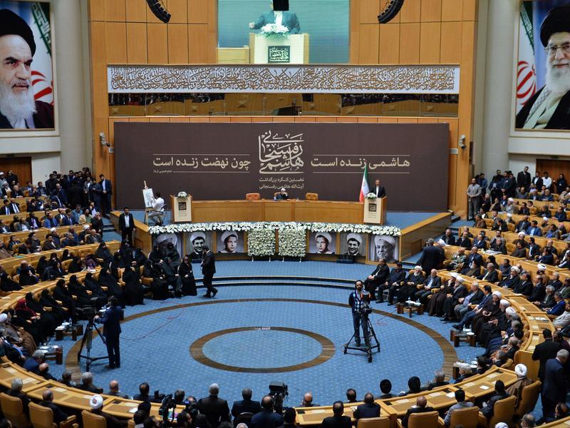Iranian Vice President Ishak Cihangiri delivers a speech during the commemoration ceremony of former Iranian President Ayatollah Hashemi Rafsanjani in Tehran on Jan. 8.
