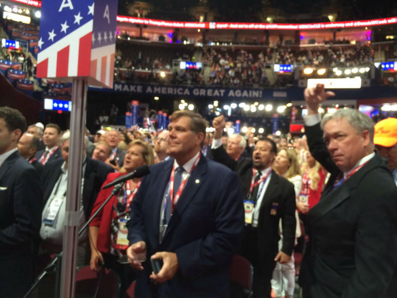 The California GOP delegation (center, Jim Brulte; right, Doug Ose) leads the fight for Donald Trump as the 2016 Republican National Convention erupts over a Rules debate.