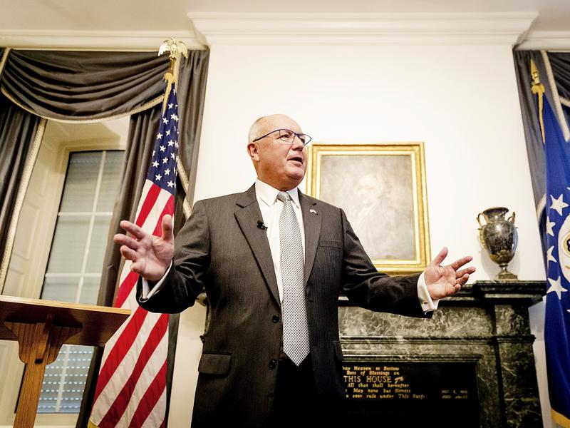 U.S. Ambassador to the Netherlands Pete Hoekstra spoke at a tense news conference with Dutch reporters Wednesday at The Hague. On Friday, he said earlier anti-Muslim comments were