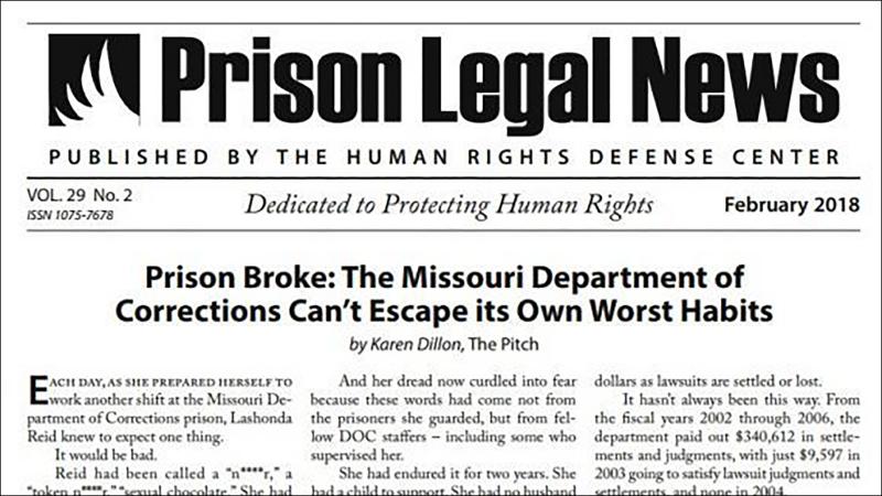 Screen capture of Prison Legal News newsletter