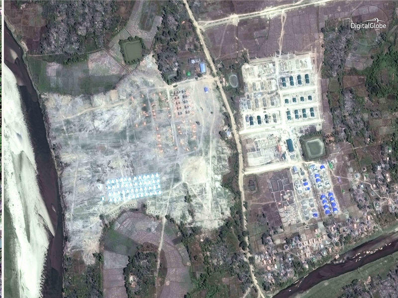 On the left, a satellite image of the village of Thit Tone Nar Gwa Son on Dec. 2; on the right, the same village seen from space earlier this week. Human rights advocates say the government is destroying what amounts to scores of crime scenes before any c