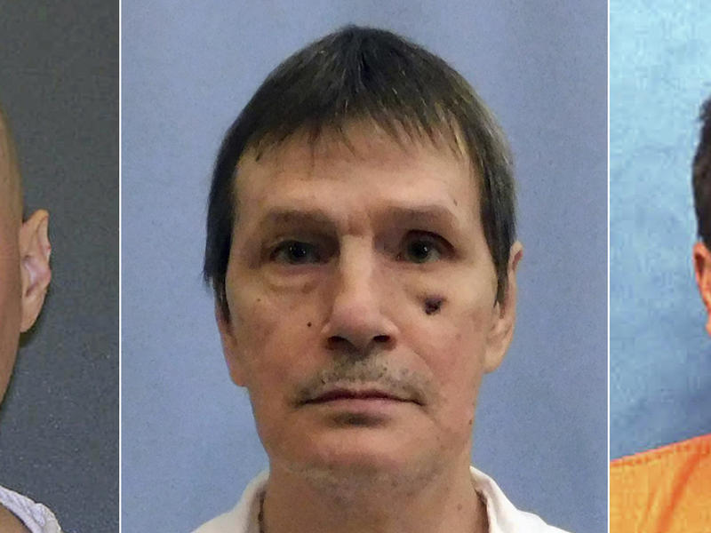 This photo combo shows death row immates, from left, Thomas Whitaker from Texas, whose sentence was commuted Thursday, Doyle Lee Hamm from Alabama, and Eric Scott Branch from Florida.