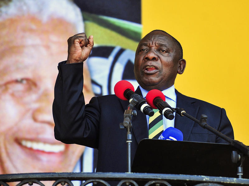 Cyril Ramaphosa seen delivering a speech Sunday at the Grand Parade in Cape Town, South Africa, before he was elected president.