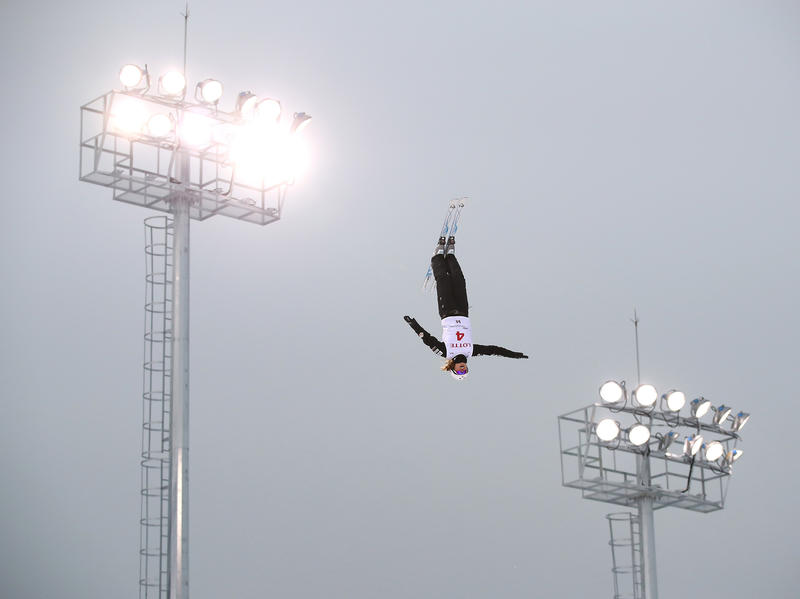 Ashley Caldwell performs an aerial before the World Cup last February. When she watched aerials for the first time at age 12, she remembers thinking: