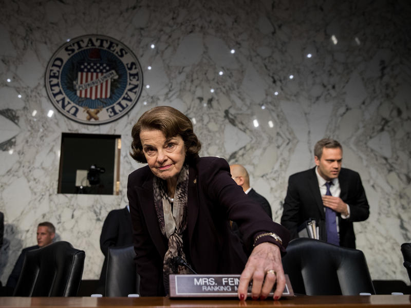 Ranking member Sen. Dianne Feinstein, D-Calif., arrives for a Judiciary Committee hearing on Capitol Hill in December. Critics have raised questions about her age as she runs for re-election.