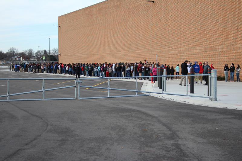 About 1,500 students walked out for a silent protest at Lafayette's Jefferson High School. (Stan Jastrzebski/WBAA)