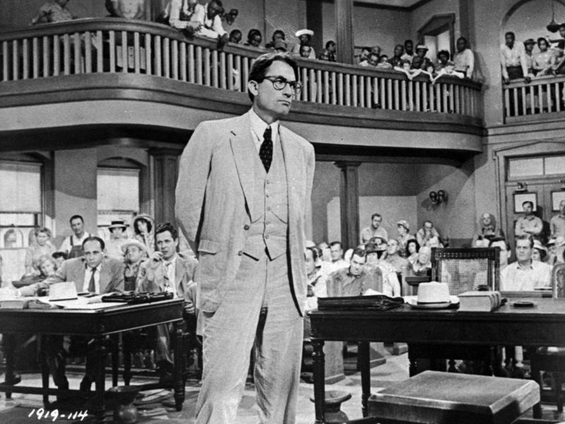 Gregory Peck as Atticus Finch, a small-town lawyer who defends a black man accused of rape, in a scene from the 1962 film To Kill a Mockingbird, based on the novel by Harper Lee.
