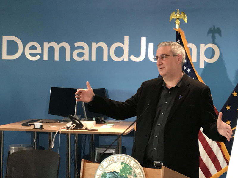 Gov. Eric Holcomb says a bill he signed to exempt sales tax for software delivered as a service sends a message that Indiana wants to be a leader in the tech sector. (Brandon Smith/IPB News)