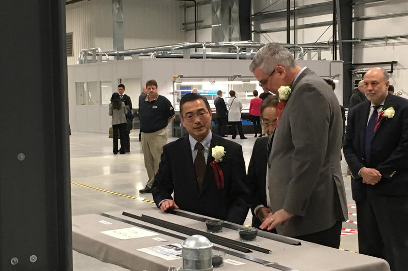 Gov. Eric Holcomb at the ribbon-cutting ceremony for M&C Tech in Washington, Indiana. (@GovHolcomb/Twitter)