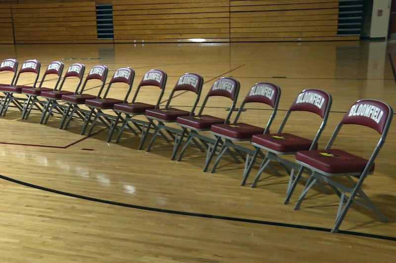 Students at Bloomfield Jr./Sr. High School set out 17 empty chairs to represent the 17 people killed at the shooting in Parkland, Florida last month. (Barbara Brosher/WFIU, WTIU)