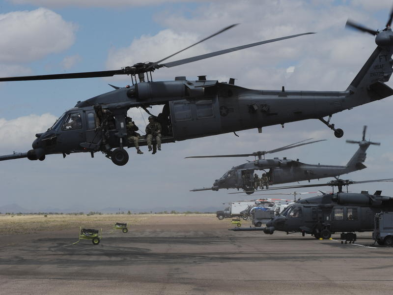 Air Force HH-60 Pave Hawk helicopters shown during Exercise Angel Thunder, in Arizona's Sonoran Desert, in 2010. A Pave Hawk crashed in Iraq on Thursday, killing seven people.
