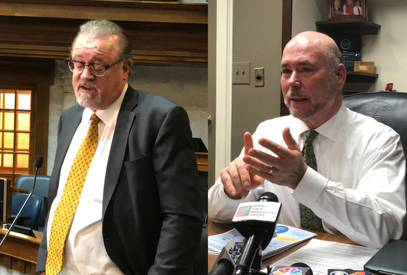 Chaos reigned as the 2018 legislative session came to an abrupt end and legislative leaders Sen. David Long (R-Fort Wayne), left, and Rep. Brian Bosma (R-Indianapolis) blamed the blame game. (Brandon Smith/IPB News)