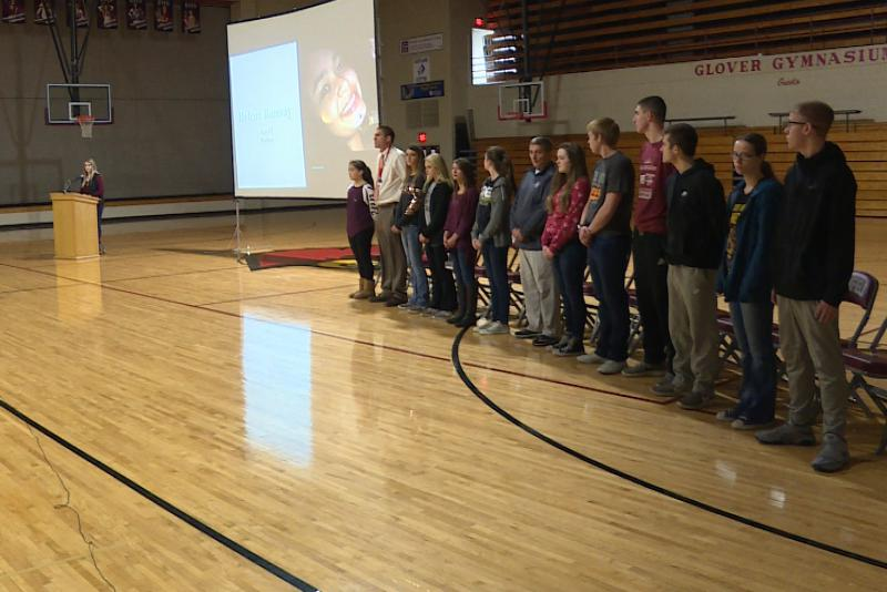 Students at Bloomfield Jr./Sr. High School chose 17 people to stand in for the 17 victims of last month's shooting in Parkland, Florida. (Barbara Brosher/WFIU, WTIU)