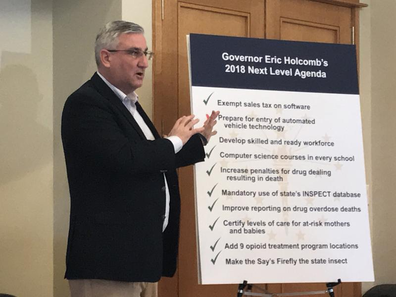 Gov. Eric Holcomb says he wants lawmakers to act on a few of the issues that died last week when legislators ran out of time. (Brandon Smith/IPB News)