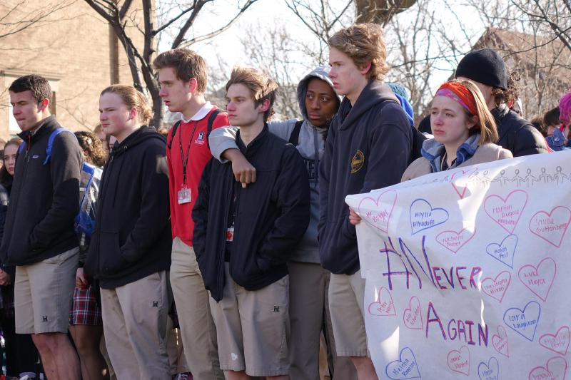 Students at Herron High School in downtown Indianapolis walked out of class Wednesday, March 14, 2018 to call for an increase in school safety and honor the victims of the Parkland, Florida shooting. (Eric Weddle/WFYI News)