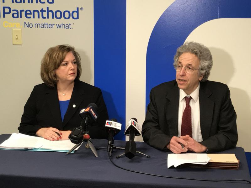 Planned Parenthood of Indiana and Kentucky CEO Christie Gillespie, left, and ACLU of Indiana Legal Director Ken Falk discuss their latest legal victory over the state of Indiana in an abortion lawsuit. (Brandon Smith/IPB News)
