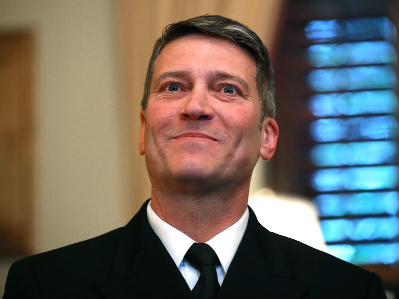 White House doctor and Navy Rear Adm. Ronny Jackson meets with Senate Veterans Affairs Committee Chairman Johnny Isakson, R-Ga., in his office on Capitol Hill o April 16.