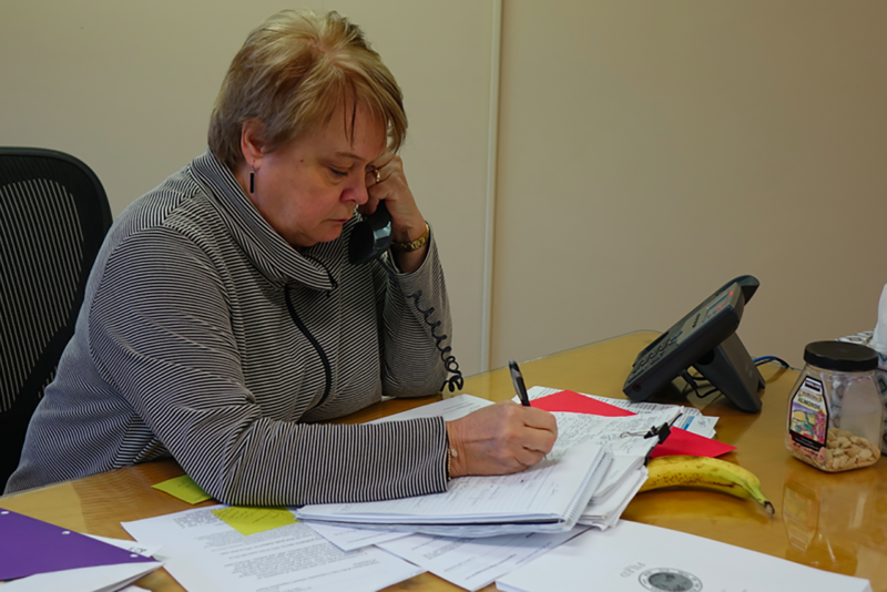 Peggy Hinckley is the state-hired emergency manager for the Gary Community School Corporation. The former Indiana superintendent and Lake County native sits at her desk in the district's main office. (Eric Weddle/WFYI News)