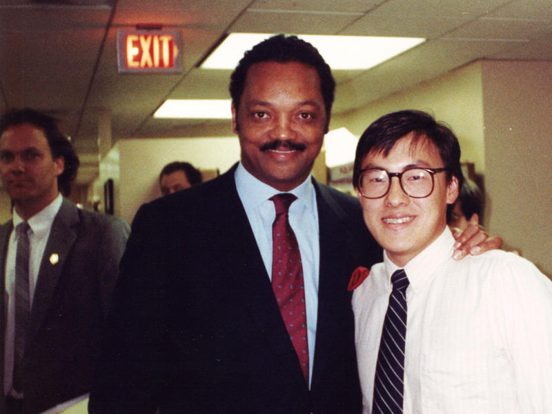 A young Mark Keam with his political hero, the Rev. Jesse Jackson, when Jackson visited the Democratic National Committee headquarters during his 1988 bid for the presidency.
