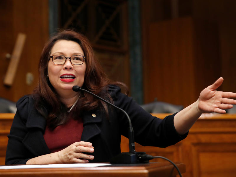Sen. Tammy Duckworth, seen here in February on Capitol Hill, announced the birth of a daughter, making her the first U.S. senator to give birth while in office.