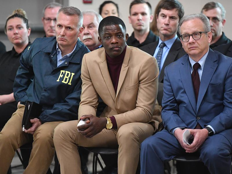"""""""I think anybody could've did what I did,"""" said James Shaw, Jr., who disarmed a gunman at a Nashville-area Waffle House, where four people were killed. He spoke at a news conference with law enforcement officials on Sunday."""