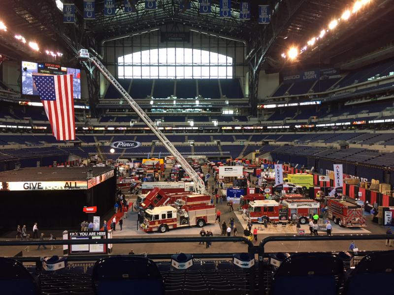 FACEs and LAM are exhibitors at the annual firefighters conference in Indianapolis. (Jill Sheridan/IPB News)