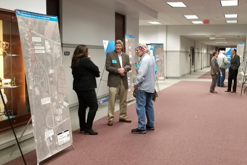 People attend one of the open houses earlier this year in Evansville to learn about the three corridors being considered. (FILE PHOTO: Samantha Horton/WNIN)