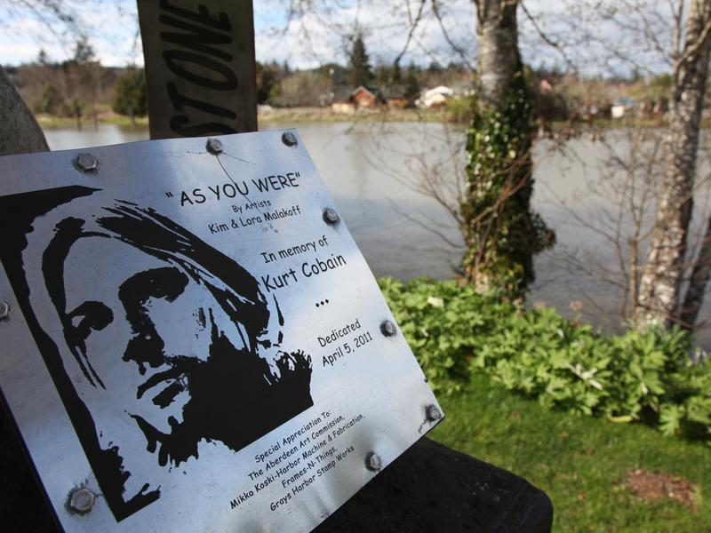 A sign in Kurt Cobain Park in Aberdeen, Wash., is seen in 2014.
