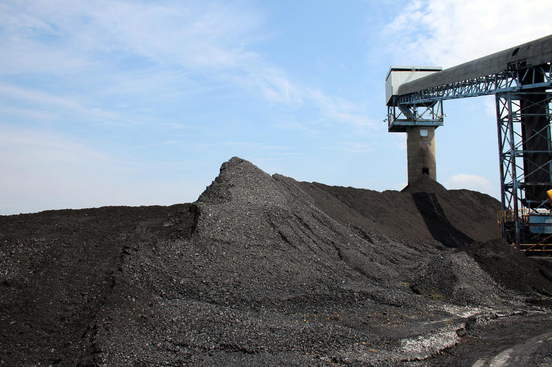 Illinois Basin coal piles up around Alliance Coal's conveyor belt at the Port of Mt. Vernon, waiting for transport on barges to regional power plants. (FILE PHOTO: Annie Ropeik/IPB News)
