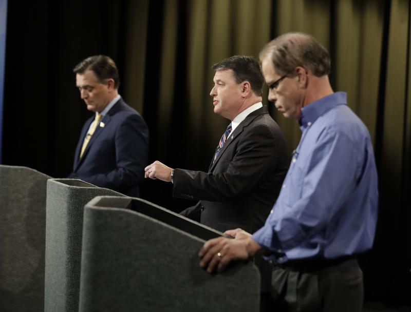 The Senate Republican primary's final debate was a microcosm of the race: the candidates focused mostly on attacking each other. (Darron Cummings/Indiana Debate Commission)