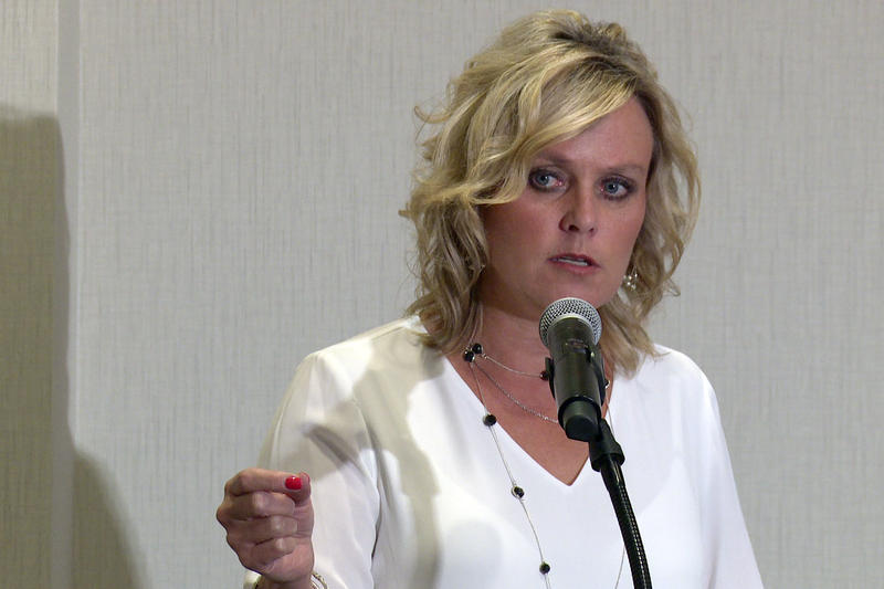State Superintendent of Public Instruction Jennifer McCormick discusses school safety, following a roundtable Tuesday. (Lauren Chapman/IPB News)