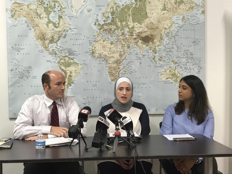 From left, ACLU of Indiana's Gavin Rose, Exodus Refugee Immigration's Sara Hindi, and Muslim Alliance of Indiana's Aliya Amin discuss the Supreme Court's decision on Pres. Trump's Muslim travel ban. (Brandon Smith/IPB News)