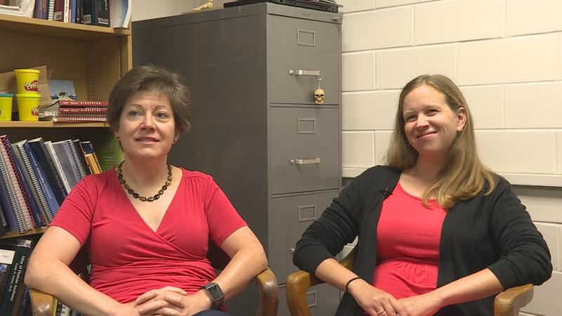 Valerie O'Loughlin (right) and Polly Husmann (left) co-authored a study about learning styles that says the categorization of learners may not be as important to student success as previously thought. (Jeanie Lindsay/IPB News)