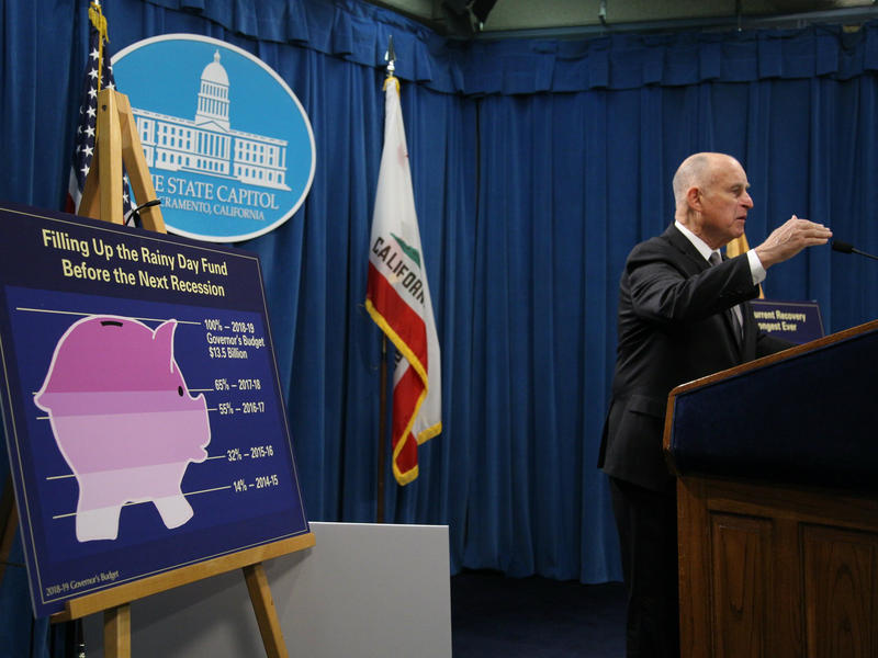 California Gov. Jerry Brown presents his final California budget Jan. 10, 2018.