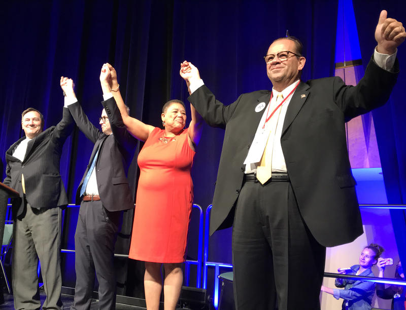 Indiana Democrats running statewide in 2018: from left, Sen. Joe Donnelly (D-Ind.), Secretary of State candidate Jim Harper, State Auditor candidate Joselyn Whitticker, and State Treasurer candidate John Aguilera. (Brandon Smith/IPB News)