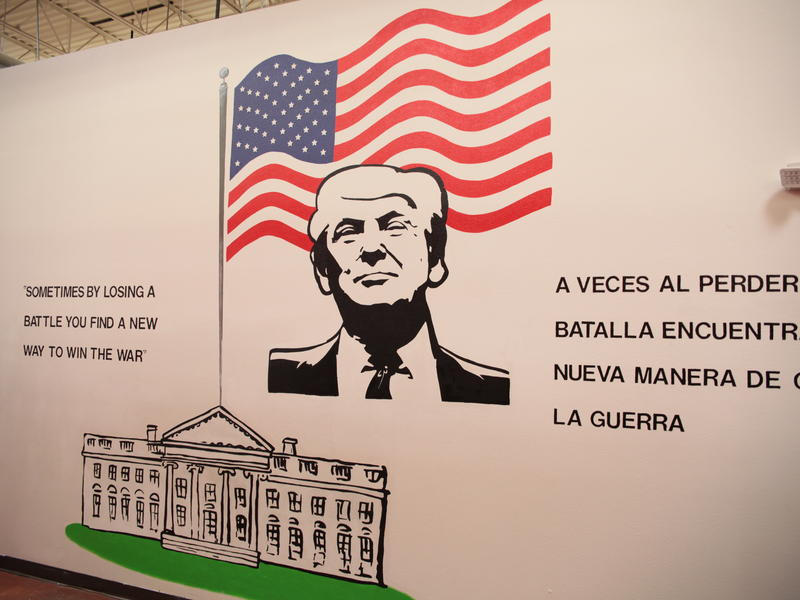 On the walls of the facility are murals of U.S. presidents and patriotic slogans.