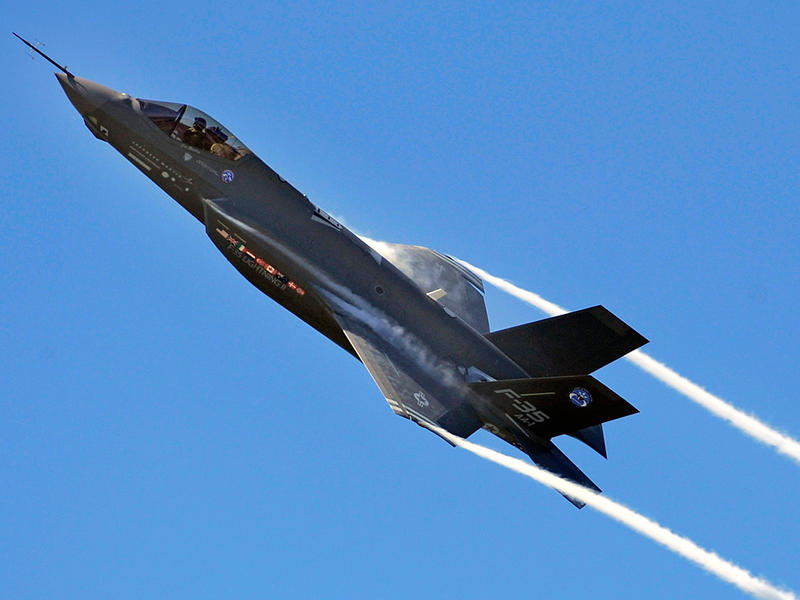 An F-35 Lightning II in flight. Congress is moving to block delivery of the warplane to Turkey, a NATO ally and member of the nine-nation consortium manufacturing the warplane.