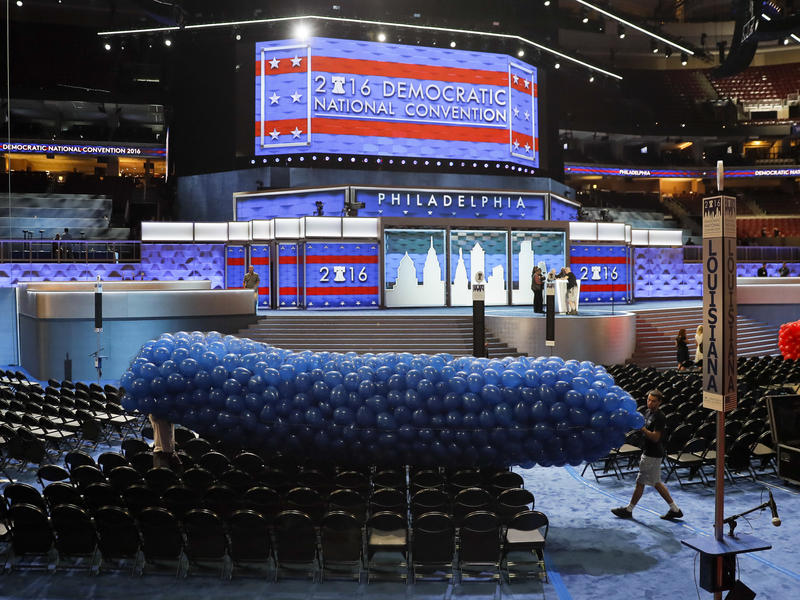 Workers prepare a mass of balloons for the 2016 Democratic National Convention in Philadelphia. Democrats plan to hold their 2020 convention unusually early, starting July 13, before the Summer Olympics.
