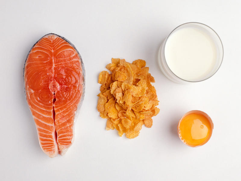 A serving of salmon contains about 600 IUs of vitamin D, researchers say, and a cup of fortified milk around 100. Cereals and juices are sometimes fortified, too. Check the labels, researchers say, and aim for 600 IUs daily, or 800 if you're older than 70