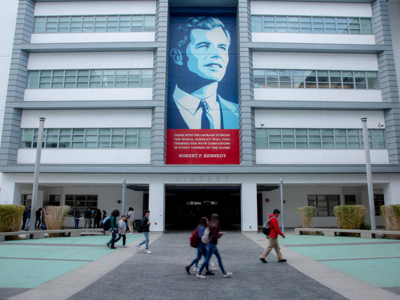 Murals surround the complex of the Robert F. Kennedy Community Schools in Los Angeles.
